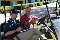 Atlanta Braves executive Jonathan Schuerholz, left, talks with former team executive Paul Snyder at a Minor League Spring Training workout on Monday, March 16, 2015, at the ESPN Wide World of Sports Complex in Lake Buena Vista, Florida. (Tom Priddy/Four Seam Images)