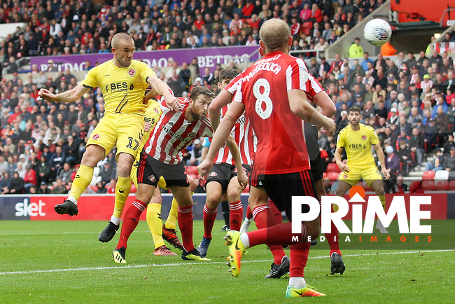 Fleetwood Town's Paddy Madden scoring his side's first goal during the Sky Bet League 1 match between Sunderland and Fleetwood Town at the Stadium Of Light, Sunderland, England on 8 September 2018. Photo by Stephen Hadlow/MI News & Sport/PRiME Media Images.