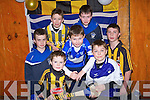 COLOURS: Some of the Ardfert Young Hurlers dressed in their favorite colour Jerseys on the visit of Jackie Tyrell (Kilkenny ) and Mickie Boyle (Tipperary) at the St Btrendan Hurling Club medal presentation on Saturday night in the Community Centre,Ardfert. Front Gary O'Riordan, Lorcan Ryan and Billy Daly. Back l-r: Shane O'Mahony, Gavin Hussey, Pádraig O'Mahony and Christopher Kelly.....