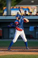 Kort Peterson (8) of the Burlington Royals at bat against the Bluefield Blue Jays at Burlington Athletic Stadium on June 26, 2016 in Burlington, North Carolina.  The Blue Jays defeated the Royals 4-3.  (Brian Westerholt/Four Seam Images)