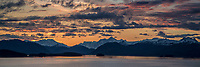 Summer landscape of Prince William Sound and Chugach Mountains and glaciers   at sunset with clouds.  Southcentral, Alaska    panorama/ panoramic<br /> <br /> (C) Jeff Schultz/SchultzPhoto.com