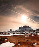 USA; Utah, Arizona; Monument Valley, Navajo Tribal Park, view of Brigham's Tomb looking towards Arizona