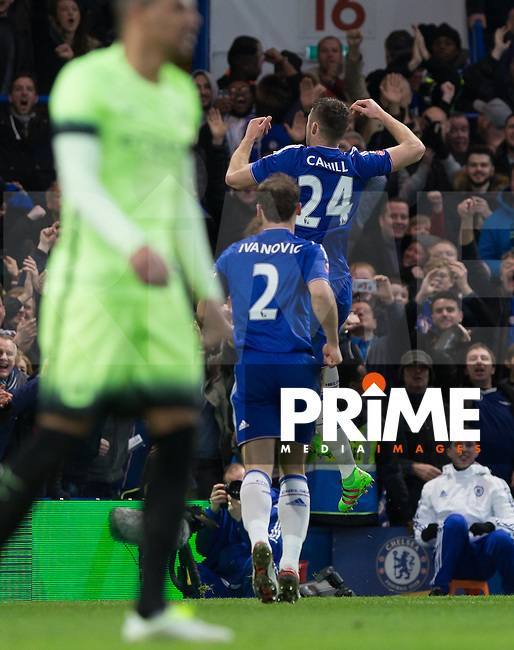 Gary Cahill of Chelsea celebrates his goal during the FA Cup 5th round match between Chelsea and Manchester City at Stamford Bridge, London, England on 21 February 2016. Photo by Andy Rowland.