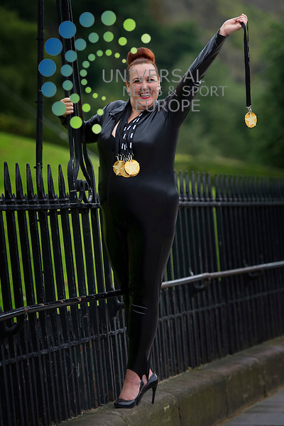 Comedy Olympian Sharron Matthews from Canada in Edinburgh with her fringe show Superstar Gold, Edinburgh, Scotland, 1st August, 2012..Picture:Scott Taylor Universal News And Sport (Europe) .All pictures must be credited to www.universalnewsandsport.com. (Office)0844 884 51 22.