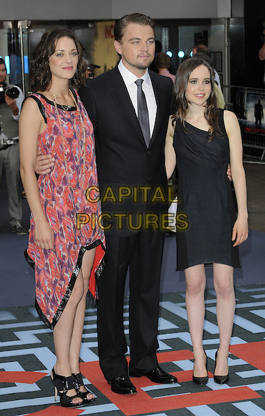 MARION COTILLARD, LEONARDO DICAPRIO & ELLEN PAGE .At the World Premiere of 'Inception' at the Odeon Leicester Square cinema, Leicester Square, London, England, .UK, July 8th 2010..arrivals full length red print dress scarf sleeveless black trim purple patterned pattern open toe sandals asymmetric suit tie white shirt hand in pocket leo di caprio draped ruched .CAP/CAN.©Can Nguyen/Capital Pictures.