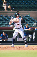Scottsdale Scorpions right fielder Drew Ferguson (18), of the Houston Astros organization, at bat during an Arizona Fall League game against the Surprise Saguaros at Scottsdale Stadium on October 26, 2018 in Scottsdale, Arizona. Surprise defeated Scottsdale 3-1. (Zachary Lucy/Four Seam Images)
