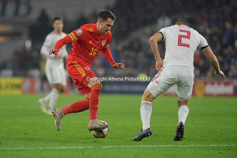 Aaron Ramsey of Wales in action during the UEFA Euro 2020 Group E Qualifier match between Wales and Hungary at the Cardiff City Stadium in Cardiff, Wales, UK. Tuesday 19th November 2019