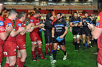 Nathan Catt and the rest of the Bath Rugby team leave the field. European Rugby Champions Cup match, between the Scarlets and Bath Rugby on October 20, 2017 at Parc y Scarlets in Llanelli, Wales. Photo by: Patrick Khachfe / Onside Images