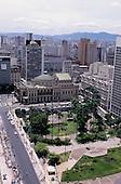 Sao Paulo, Brazil. City centre high rise cityscape skyline with the Municipal Theatre and Praca Ramos de Azevedo.