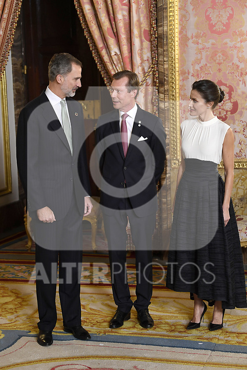 King Felipe VI of Spain (l) and Queen Letizia of Spain (r) receive Grand Duke of Luxembourg, Enrique de Nassau-Weilburg because of the United Nations conference for the Climate Summit 2019 (COP25) at the Royal Palace. December 2,2019. (ALTERPHOTOS/Pool/Carlos Alvarez)