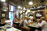 Interno dell'osteria  a Cantina de Mananan a Corniglia, uno dei borghi delle Cinque Terre.<br /> Interior of the restaurant A Cantina de Mananan in Corniglia, at the Cinque Terre.<br /> UPDATE IMAGES PRESS/Riccardo De Luca