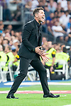 Atletico de Madrid coach Diego Pablo Simeone during La Liga match between Real Madrid and Atletico de Madrid at Santiago Bernabeu Stadium in Madrid, Spain. September 29, 2018. (ALTERPHOTOS/Borja B.Hojas)