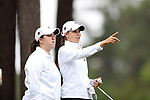 CHAPEL HILL, NC - OCTOBER 13: Vanderbilt's Virginia Green (right), with assistant coach Julie Bartolomew (left) on the 10th tee. The first round of the Ruth's Chris Tar Heel Invitational Women's Golf Tournament was held on October 13, 2017, at the UNC Finley Golf Course in Chapel Hill, NC.