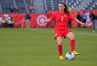 CARSON, CA - FEBRUARY 07: Allysha Chapman #2 of Canada passes off the ball the ball during a game between Canada and Costa Rica at Dignity Health Sports Park on February 07, 2020 in Carson, California.