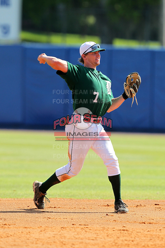 Dartmouth Big Green second baseman Jeff Onstott #7 during a game vs. the Long Island Blackbirds at Chain of Lakes Park in Winter Haven, Florida;  March 20, 2011.  Dartmouth defeated Long Island 6-0.  Photo By Mike Janes/Four Seam Images