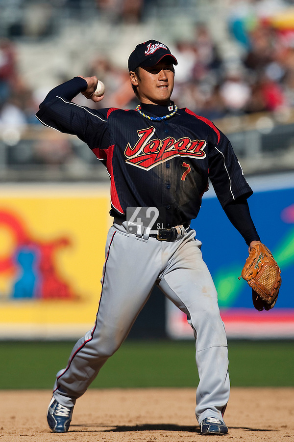 15 March 2009: #7 Yasuyuki Kataoka of Japan throws the ball during the 2009 World Baseball Classic Pool 1 game 1 at Petco Park in San Diego, California, USA. Japan wins 6-0 over Cuba.