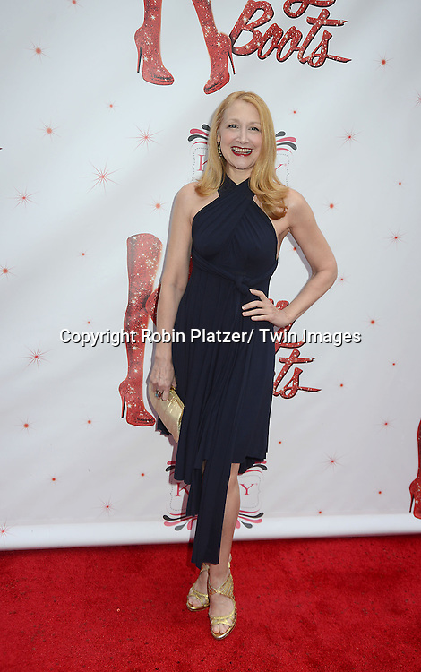 "Patricia Clarkson arrives at the ""Kinky Boots"" Broadway Opening on April 4, 2013 at The Al Hirschfeld Theatre in New York City. Harvey Fierstein wrote is the Book Writer and Cnydi Lauper is the Composer."