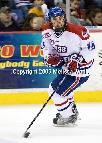 Mike Potacco (UMass-Lowell - 19) - The Northeastern University Huskies defeated the University of Massachusetts-Lowell Riverhawks 3-1 on Saturday, February 28, 2009, at the Paul E. Tsongas Arena in Lowell, Massachusetts.
