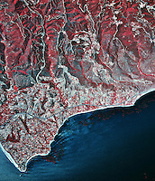 historical infrared aerial photograph of Malibu, California, 2002