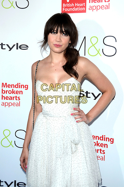Daisy Lowe.Tunnel of Love Fundraiser in aid of The British Heart Foundation at Proud Camden, London, England..May 29th 2012.half length dress white strapless hand on hip.CAP/ROS.©Steve Ross/Capital Pictures