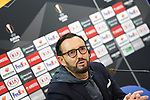 Getafe CF's coach Jose Bordalas in press conference after UEFA Europa League match. December 12,2019. (ALTERPHOTOS/Acero)