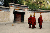 Images from the Book Journey Through Colour and Time Monks from the Gelupa (Yellow Hat) Sect and the Fifth Dalai Lama at a Monastery, Tibet