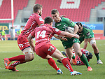 Connacht's Matt Healy takes on Scarlets' Harry Robinson<br /> <br /> Rugby - Scarlets V Connacht - Guinness Pro12 - Sunday 15th Febuary 2015 - Parc-y-Scarlets - Llanelli<br /> <br /> &copy; www.sportingwales.com- PLEASE CREDIT IAN COOK