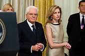 President of Italy Sergio Mattarella (L) and his daughter and Italy's First Lady Laura Mattarella (R) attend a reception hosted by US President Donald J. Trump (not pictured) in the East Room of the White House in Washington, DC, USA, 16 October 2019. US President Donald J. Trump hosted the President of Italy Sergio Mattarella and his daughter and Italy's First Lady Laura Mattarella at a reception held in honor of the Italian Republic.<br /> Credit: Michael Reynolds / CNP