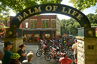 NWA Democrat-Gazette/BEN GOFF @NWABENGOFF<br /> A heat starts their race Sunday, July 16, 2017, from Basin Park in downtown Eureka Springs before making their way onto the singletrack at Lake Leatherwood City Park during cross country races on the final day of the 19th annual Fat Tire Festival.