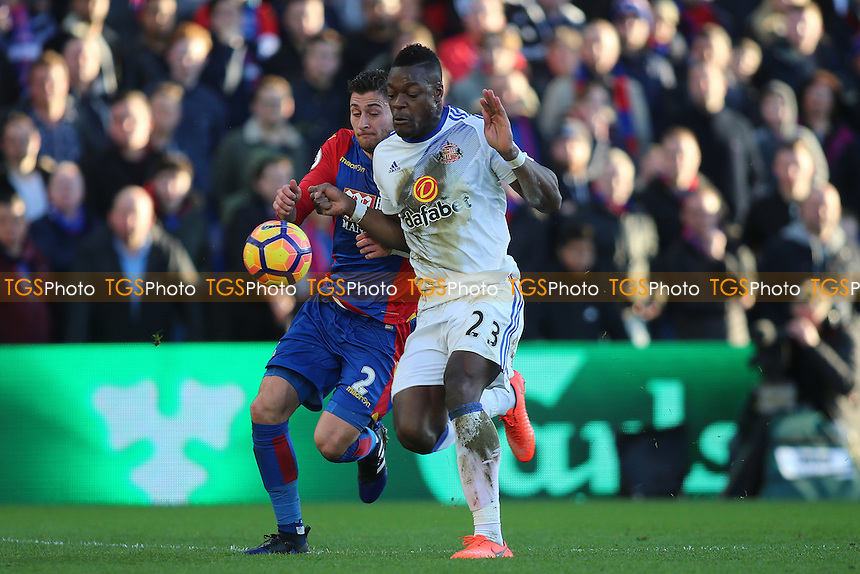 Joel Ward of Crystal Palace and Lamine Kone of Sunderland during Crystal Palace vs Sunderland AFC, Premier League Football at Selhurst Park on 4th February 2017