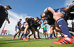 (Left front row) Ben May (L), Ash Dixon, Joe Moody. Maori All Blacks Train. Suva, Fiji. July 9 2015. Photo: Marc Weakley