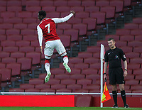Arsenal U18's Fol Balogun celebrates scoring his side's first goal <br /> <br /> Photographer Andrew Kearns/CameraSport<br /> <br /> Emirates FA Youth Cup Semi- Final Second Leg - Arsenal U18 v Blackpool U18 - Monday 16th April 2018 - Emirates Stadium - London<br />  <br /> World Copyright &copy; 2018 CameraSport. All rights reserved. 43 Linden Ave. Countesthorpe. Leicester. England. LE8 5PG - Tel: +44 (0) 116 277 4147 - admin@camerasport.com - www.camerasport.com