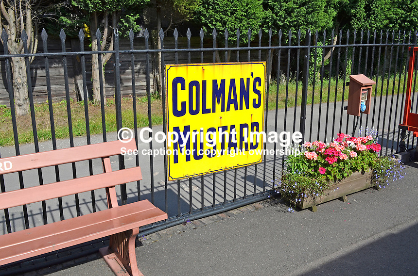 Logo, signage, Colman's Mustard, Bishops Lydeard, West Somerset Railway, UK, July, 2014, 201407093442<br />