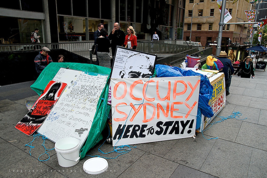 Despite bad weather Occupy Sydney protest on Martin Place continue already 38 days.