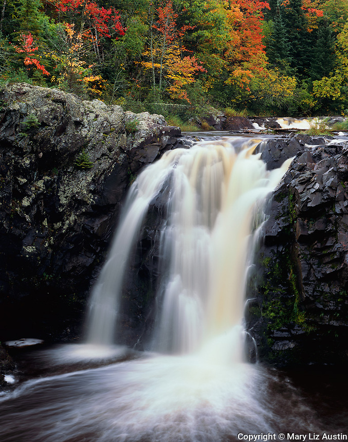 Pattison State Park, WI<br /> Little Manitou Falls on the Black River with hardwood forest in fall color