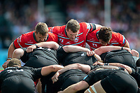 The Gloucester Rugby front row of Ruan Dreyer, Mike Sherry and Val Rapava Ruskin look on at a scrum. Gallagher Premiership Semi Final, between Saracens and Gloucester Rugby on May 25, 2019 at Allianz Park in London, England. Photo by: Patrick Khachfe / JMP