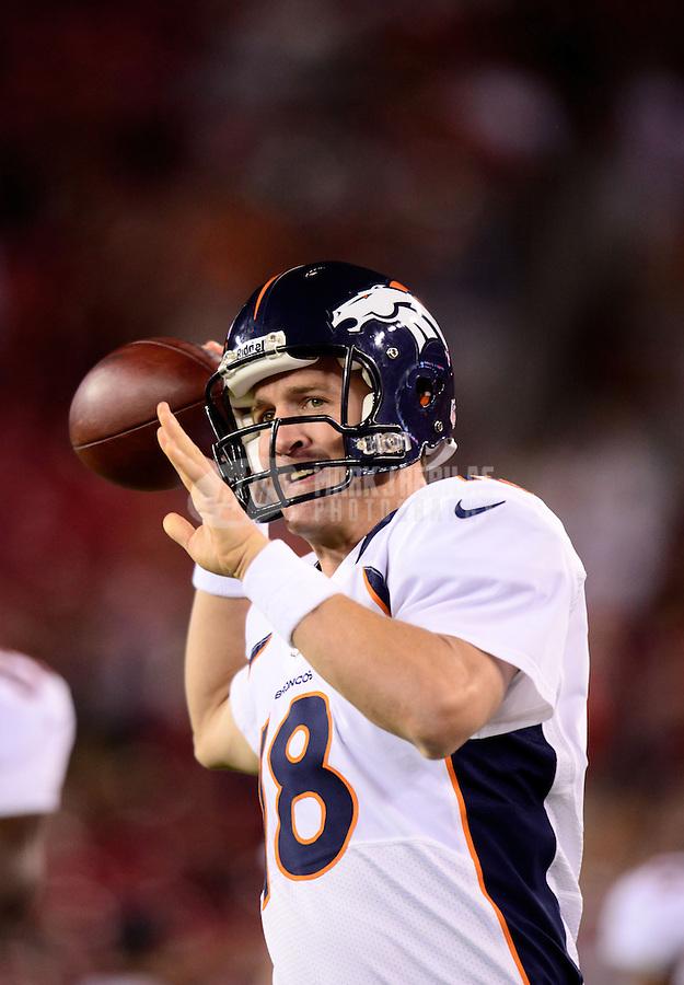 Aug. 30, 2012; Glendale, AZ, USA; Denver Broncos quarterback Peyton Manning prior to the game against the Arizona Cardinals during a preseason game at University of Phoenix Stadium. Mandatory Credit: Mark J. Rebilas-