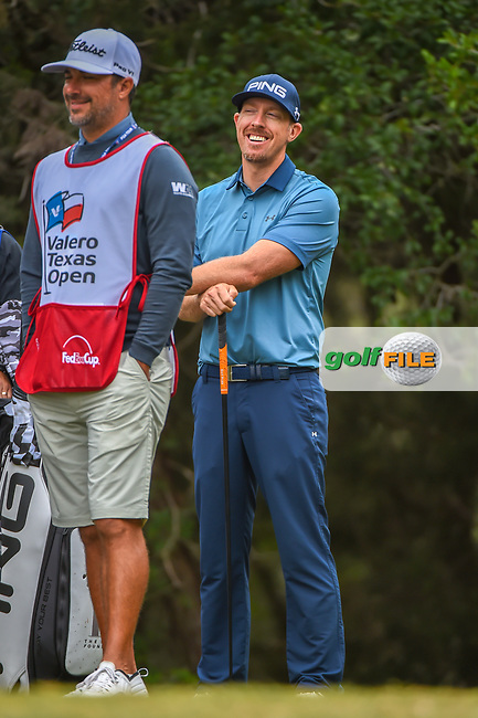 Hunter Mahan (USA) shares a laugh on the 14th tee during Round 3 of the Valero Texas Open, AT&T Oaks Course, TPC San Antonio, San Antonio, Texas, USA. 4/21/2018.<br /> Picture: Golffile | Ken Murray<br /> <br /> <br /> All photo usage must carry mandatory copyright credit (© Golffile | Ken Murray)
