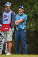 Hunter Mahan (USA) shares a laugh on the 14th tee during Round 3 of the Valero Texas Open, AT&amp;T Oaks Course, TPC San Antonio, San Antonio, Texas, USA. 4/21/2018.<br /> Picture: Golffile | Ken Murray<br /> <br /> <br /> All photo usage must carry mandatory copyright credit (&copy; Golffile | Ken Murray)