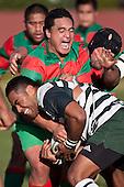 Ra Garmonsway & Samisoni Fisilau tussle for the ball. Counties Manukau Premier Club Rugby game between Wauku & Manurewa played at Waiuku on Saturday June 6th. Manurewa won 36 - 31 after leading 14 - 12 at halftime.