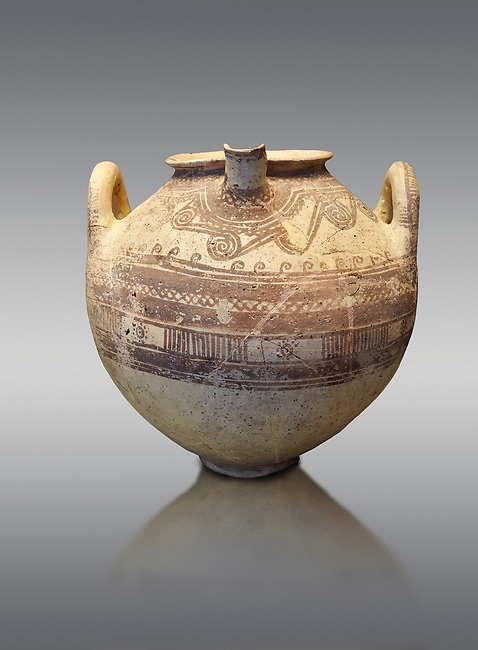 Mycenaean spouted clay pithos decorated with spirals and bands, Grave VI, Grave Circle A, Mycenae 16-15 Cent BC. National Archaeological Museum Athens. Cat No 8580.  Grey Background