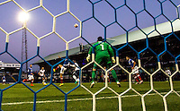 Adebayo Akinfenwa of Wycombe Wanderers heads the winning goal during the FA Cup 1st round match between Portsmouth and Wycombe Wanderers at Fratton Park, Portsmouth, England on the 5th November 2016. Photo by Liam McAvoy.