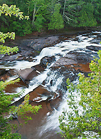 Manido Falls on the Presque Isle River flows through Porcupine Mountains Wilderness State Park in Gogebic County, Michigan