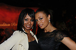 """One Life To Live's Valarie Pettiford """"Sheila Price"""" and Another World poses with her sister Atonia as Valarie sings as a part of """"Jamie deRoy & friends - Multi-Award Winning Variety Show"""" on March 18, 2012 at Metropolitan Room, New York City, New York.  (Photo by Sue Coflin/Max Photos)"""