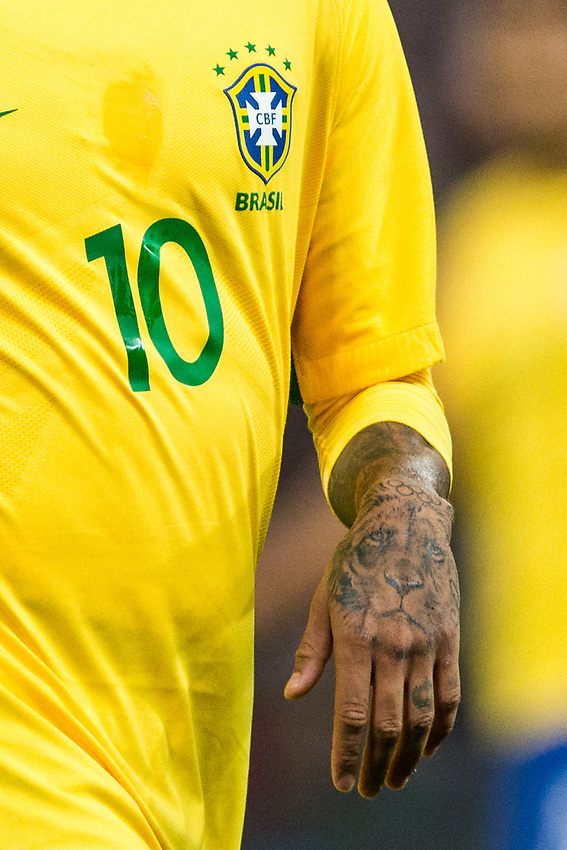 Tattoos seen on Brazil&rsquo;s Neymar Jr <br /> <br /> Photographer Craig Mercer/CameraSport<br /> <br /> The Bobby Moore Fund International - England v Brazil - Tuesday 14th November 2017 Wembley Stadium - London  <br /> <br /> World Copyright &copy; 2017 CameraSport. All rights reserved. 43 Linden Ave. Countesthorpe. Leicester. England. LE8 5PG - Tel: +44 (0) 116 277 4147 - admin@camerasport.com - www.camerasport.com