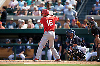 Florida Southern Moccasins first baseman Jason Sierra (16) at bat during an exhibition game against the Detroit Tigers on February 29, 2016 at Joker Marchant Stadium in Lakeland, Florida.  Detroit defeated Florida Southern 7-2.  (Mike Janes/Four Seam Images)