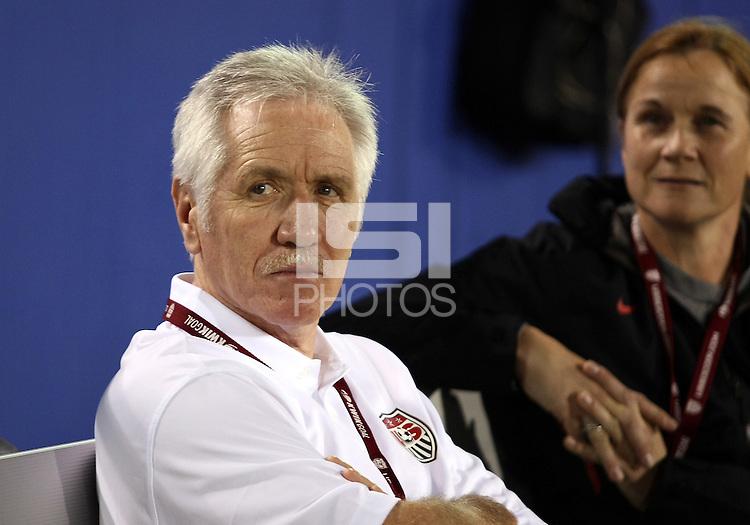 BOCA RATON, FL - DECEMBER 15, 2012: Tom Sermanni new coach of the USA WNT with Jill Ellis during an international friendly match at FAU Stadium, in Boca Raton, Florida, on Saturday, December 15, 2012. USA won 4-1.