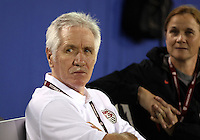 BOCA RATON, FL - DECEMBER 15, 2012: Tom Sermanni new coach of the USA WNT with Jill Ellis during an international friendly match at FAU Stadium, in Boca Raton, Florida, on Saturday, December 15, 2012. USA won 4-1.