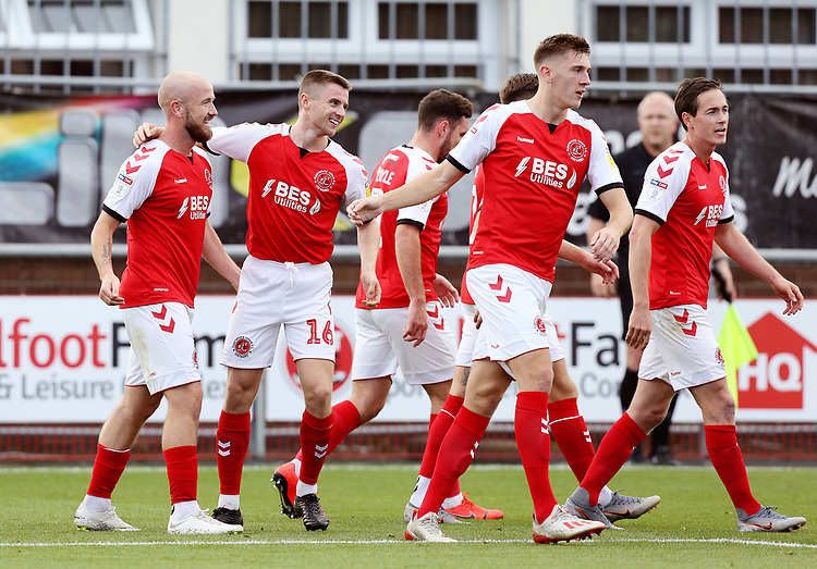 Fleetwood Town's Paddy Madden (left) celebrates with team-mate Jordan Rossiter after scoring the opening goal  <br /> <br /> Photographer Rich Linley/CameraSport<br /> <br /> The EFL Sky Bet League One - Fleetwood Town v Oxford United - Saturday 7th September 2019 - Highbury Stadium - Fleetwood<br /> <br /> World Copyright © 2019 CameraSport. All rights reserved. 43 Linden Ave. Countesthorpe. Leicester. England. LE8 5PG - Tel: +44 (0) 116 277 4147 - admin@camerasport.com - www.camerasport.com