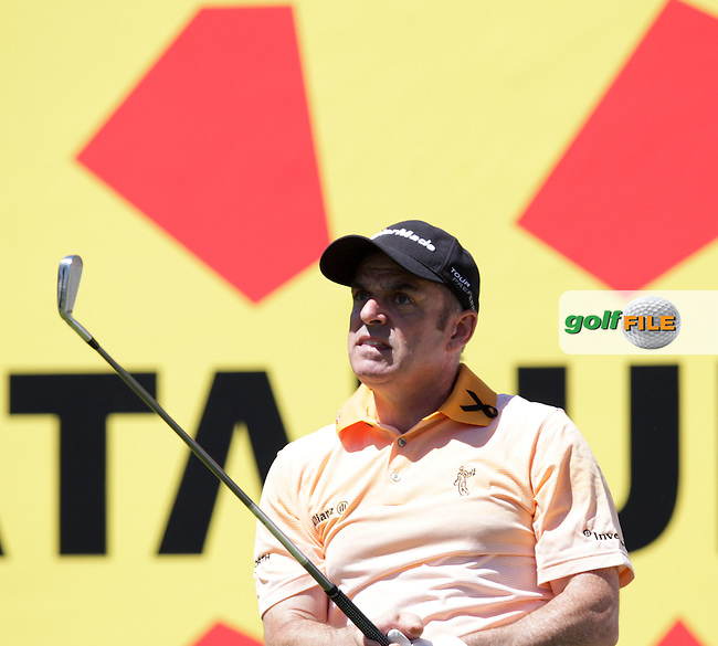 Paul McGinley (IRL) tees off the par3 8th tee during Thursday's Round 1 of the 2014 Open de Espana held at the PGA Catalunya Resort, Girona, Spain. Wednesday 15th May 2014.<br /> Picture: Eoin Clarke www.golffile.ie